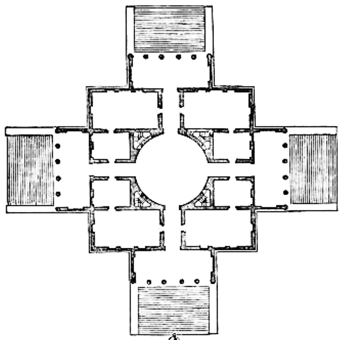 Der Grundriss stammt aus der von Palladio herausgegeben Ausgabe seiner
